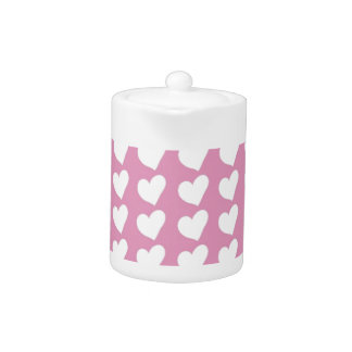 White Love Hearts on Pale Baby Pink