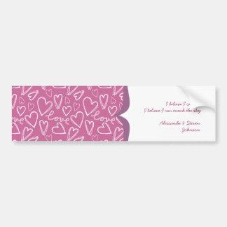 white love & hearts on pink border car bumper sticker