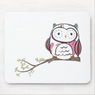 White Love Owl Mousepads