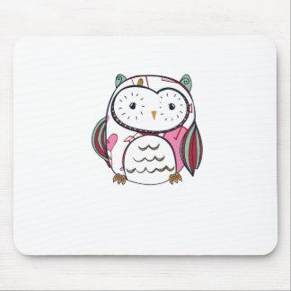 White Love Owl Mousepad