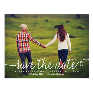 White Lovely Calligraphy Photo Save the Date Postcard