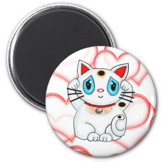 White Lucky Beckoning Cat Maneki Neko Fridge Magnet