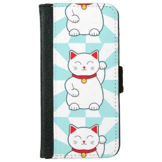 White Lucky Cat iPhone 6 Wallet Case
