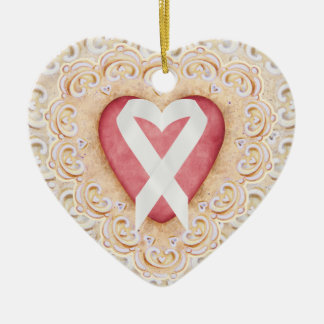 White Lung Cancer Ribbon #2 From the Heart - SRF Ceramic Heart Decoration