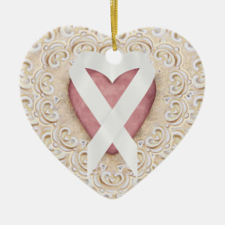 White Lung Cancer Ribbon From the Heart - SRF Christmas Ornament