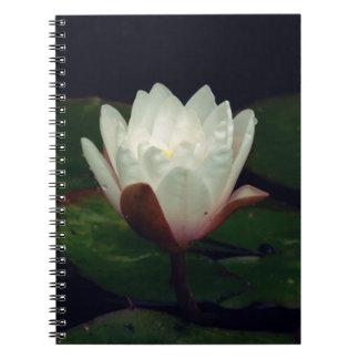 White Macro Lotus Flower Note Books