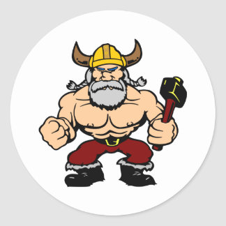White Mad Viking Round Sticker