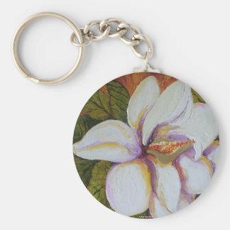 White Magnolia Basic Round Button Key Ring