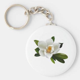 white magnolia bloom key ring