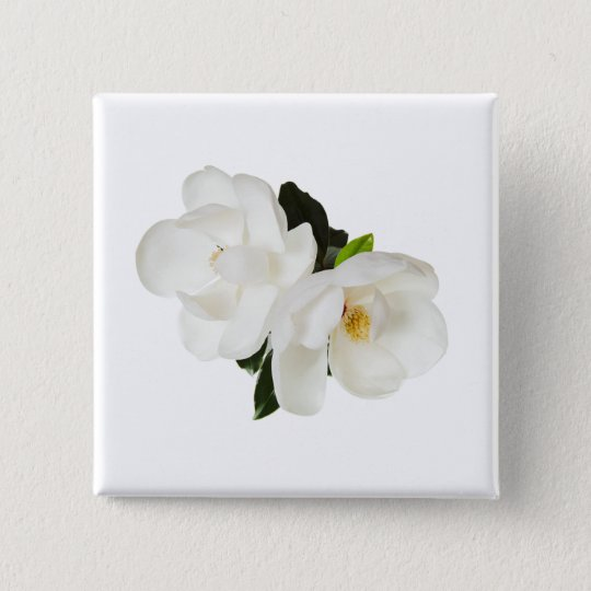 White Magnolia Flower Magnolias Floral Flowers 15 Cm Square Badge