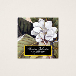 White Magnolia Flower Vintage Botanical Square Business Card