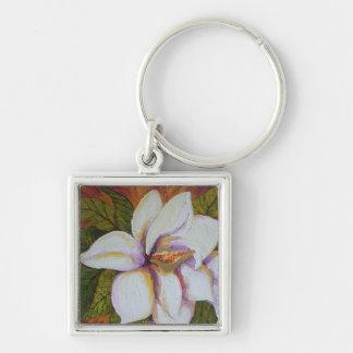 White Magnolia Silver-Colored Square Key Ring