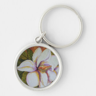 White Magnolia Silver-Colored Round Key Ring