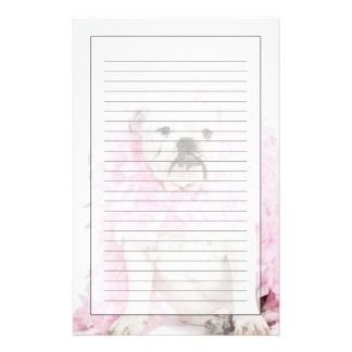 White male dog with pink boa stationery
