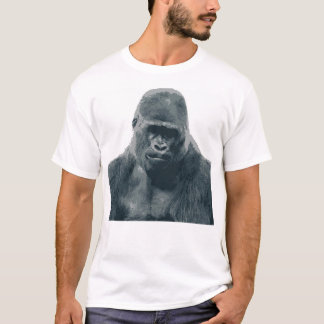 White Male T-Shirt with Gorilla Face Illustration