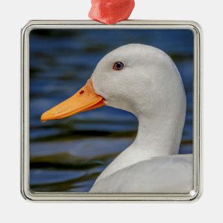 White Mallard Duck Silver-Colored Square Decoration