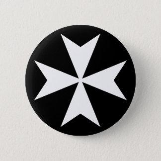White Maltese Cross 6 Cm Round Badge