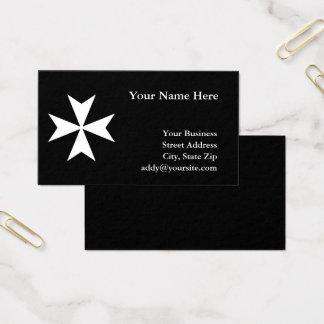 White Maltese Cross Business Card