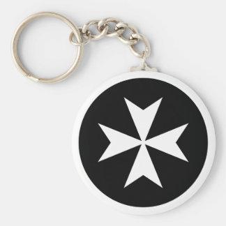 White Maltese Cross Key Ring