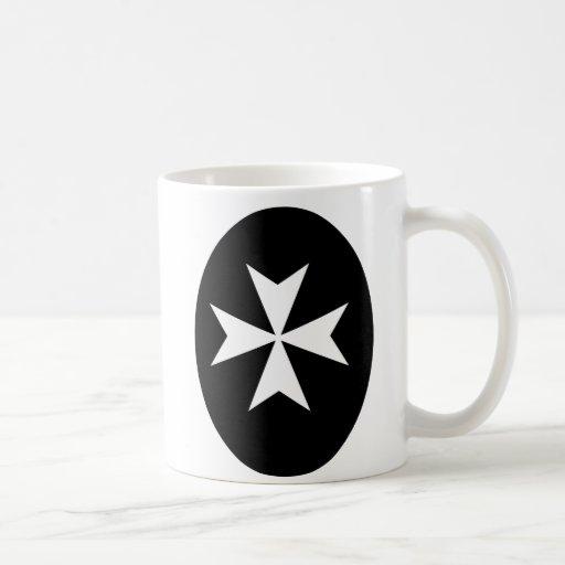 White Maltese Cross Coffee Mugs