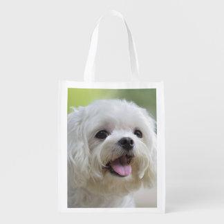 White Maltese Dog Reusable Grocery Bag