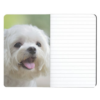 White maltese dog sticking out tongue journal