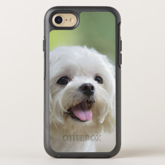 White maltese dog sticking out tongue OtterBox symmetry iPhone 7 case