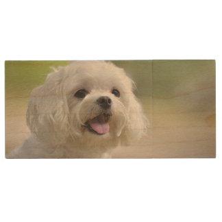 White Maltese Dog Wood USB Flash Drive