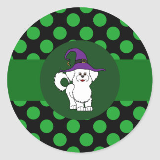 White Maltese Witch with Green Dots Round Sticker