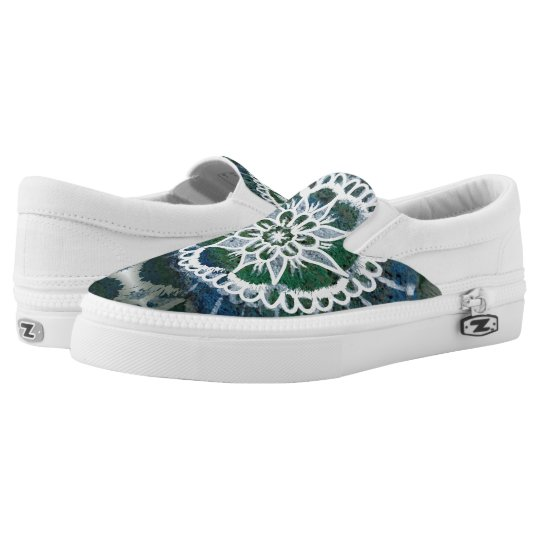 White mandala, Expression , Zipz Slip On Shoes