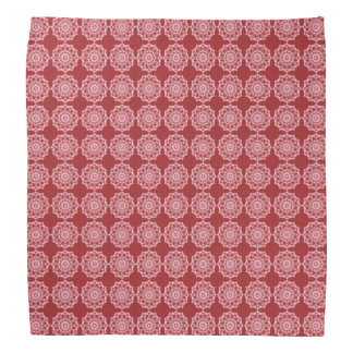 White Mandala on Mosaic Red Pattern Bandana
