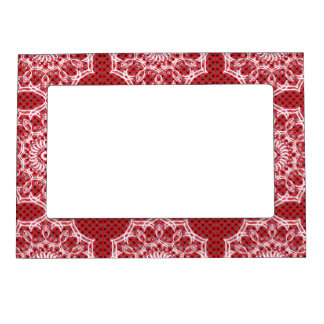 White Mandala on Mosaic Red Pattern Photo Frame Magnets
