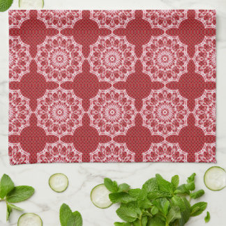White Mandala on Mosaic Red Pattern Tea Towel