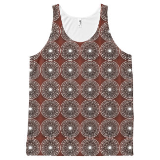 White  Mandala Pattern On Brown All-Over Print Tank Top