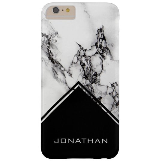 White Marble And Black Triangle Barely There iPhone 6 Plus Case
