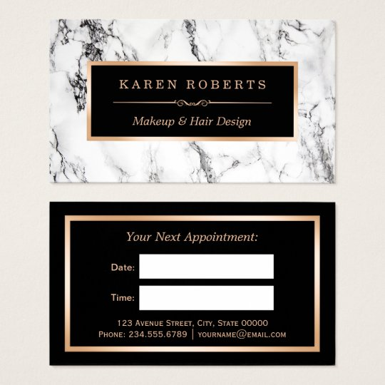 Appointment business cards business card printing zazzle uk white marble beauty salon hair dresser appointment business card reheart Gallery