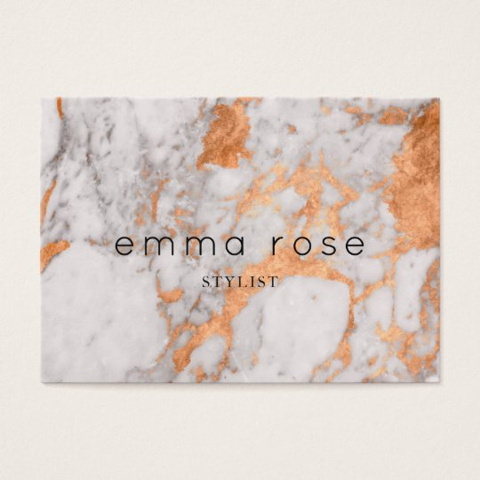 White Marble & Copper Business Card