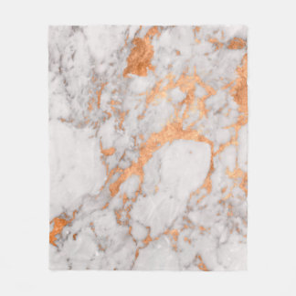 White Marble & Copper Custom Fleece Blanket