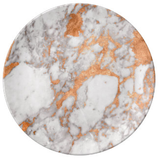 White Marble & Copper Decorative Porcelain Plate