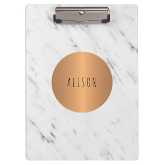 White marble copper geometric trendy chic school clipboard