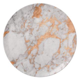 White Marble & Copper Melamine Plate