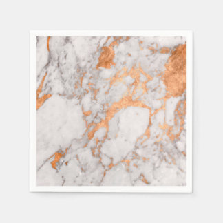 White Marble & Copper Paper Napkins