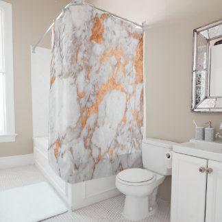 White Marble & Copper Shower Curtain