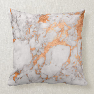 White Marble & Copper Throw Pillow