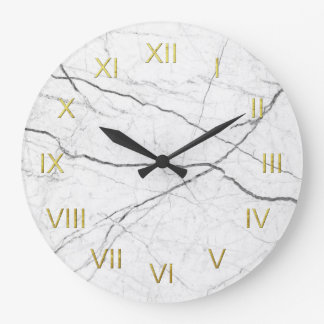 White Marble Depiction Wall Clock Gold Numerals