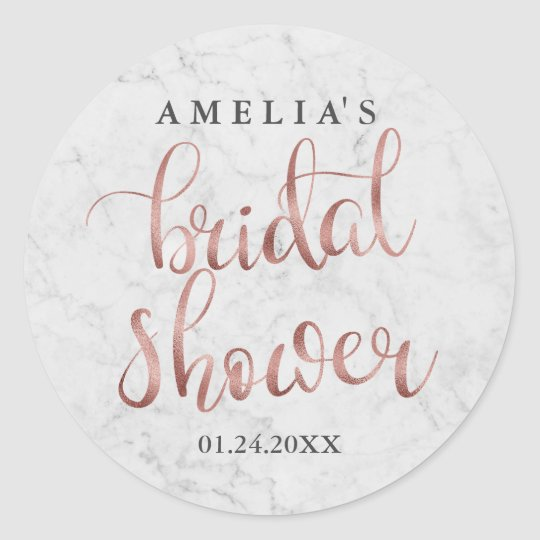 White Marble Faux Rose Gold Bridal Shower Sticker