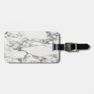White Marble Luggage Tag