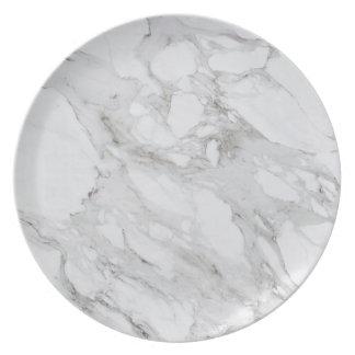White Marble Melamine Plate