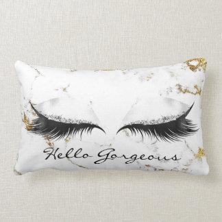 White Marble Metallic Makeup Lashes Hello Gorgeous Lumbar Cushion