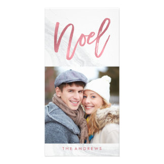 White Marble Noel | Holiday Photo Card Rose Gold